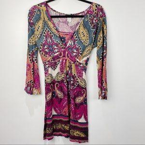 Venus boho paisley v neck long sleeve dress